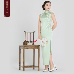 Chinese speCial oCCasion dresses online shopping - Fragrant embroidered feather silk embroidered cheongsam new handmade embroidered collar long cheongsam skirt Chinese banquet gown