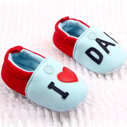 Baby Canvas Shoe Wholesale NZ - New Toddler Infant Slip-on Canvas Patchwork Baby Girl Shoes I Love Dad Mom Printed Flats Soft Sole Anti-slip Baby Boy Slippers