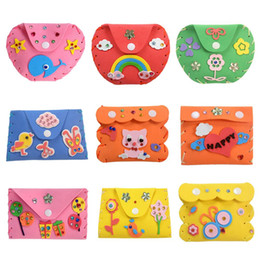 Kids Craft Kits Wholesale UK - DIY 3D EVA Foam Sticker Kids Cartoon Wallet Purse Puzzle Child Craft Toy Kits Children Early Learning Education Toys