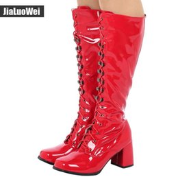 Purple Martin Boots Australia - Women Fashion Sexy Knee Boots Square Toes Thick Heel PU Leather 60's 70's GO-GO Boots Spring Autumn Shoes For Unisex Free Shipping