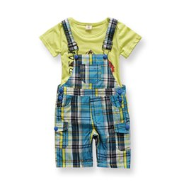c01ce5f790660 New Born Cheap Imported Baby Boy Clothes Kids Fashion China Infant Clothing  Sets Boys Suit Summer Plaid Overall Bib Suit 2pcs