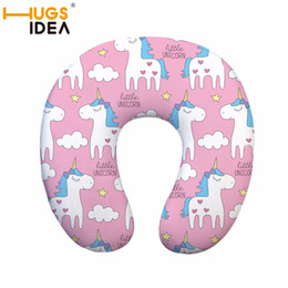 Discount blow up travel neck pillow HUGSIDEA UnicornTravel Pillow Inflatable Neck Pillow U Shape Neck Blow Up Cushion PVC Flocking Support Flight Travel