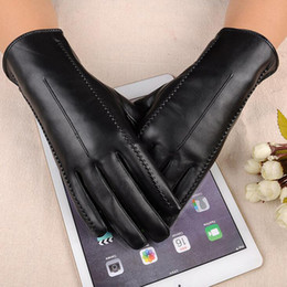 6f745e7010 High Quality Leather Female Fashion Winter Plus Coral Velvet Warm Black  Glove Women Driving Touch Phone Screen Glove Mittens L55