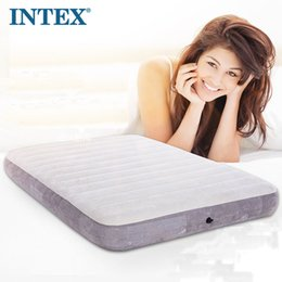 $enCountryForm.capitalKeyWord NZ - INTEX new luxury flocked single inflatable mattress air bed camping mat padded cushion 64701 with household electric pump