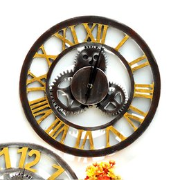retro home bars 2018 - Retro Bar 3D Wall Sticker Clock Home Decor Antique Roman Numerals Design Ornament Gear Walls Clocks Bell Originality 27