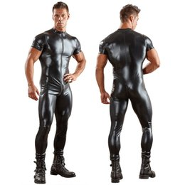 Latex bLack jumpsuit online shopping - Sexy Lingerie Sexy GAY Men s Bondage Fetish Black Stretch PVC Look Latex Spandex jumpsuit L949