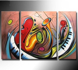 $enCountryForm.capitalKeyWord Australia - Large Art Pictures Handmade 3 Piece Wall Painting Home Decor Hand painted Modern Abstract Instruments Oil Paintings on Canvas