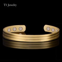 Copper Plated Steel Bangle Canada - 18K Golden Bangle 6 Magnets Health Balance Bangle magnetic pure copper bracelet Healthful bangles For Mens  Women Healthcare stripe Jewelry