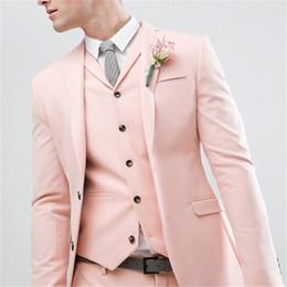 dark blue gentlemen suits 2018 - Gentlemen Style Pearl Pink Wedding Men Suit Groom Tuxedos Bridegroom Latest Design Slim Fit Blazer (Jacket+Pant+Vest+Tie