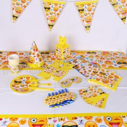 Birthday Decoration Sets NZ - 21styles emoji theme party decoration happy birthday paper cup plated hat popcorn box emoji theme party set GGA576 30sets