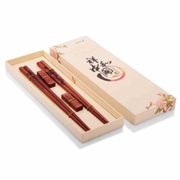 red chinese style box 2019 - Red sandalwood Chopsticks Couple tableware Two pairs Chopsticks Chinese style Gift Box free shipping cheap red chinese s