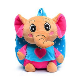 cute kindergarten backpack UK - Cute Kid elephant Plush School Backpacks Animal Figure Bag Kid Girls Boys Gifts Toy elephant kindergarten schoolbag