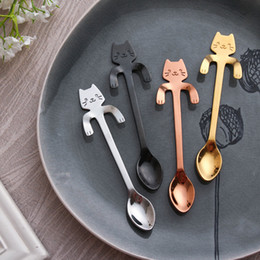 $enCountryForm.capitalKeyWord Australia - 4pcs Lot Stainless Steel Cat Coffee Spoon Set Dessertspoon Food Grade Ice Cream Candy Small Teaspoon Kitchen Supplies Tableware