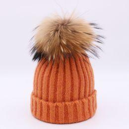 2018 vison e pele de raposa bola cap pom poms chapéu do inverno para as  mulheres menina chapéu gorros de malha cap feminino grosso 74fa4ca62dc
