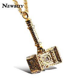 punk rock necklaces 2019 - whole saleNEWBUY Brand Male Stainless Steel Punk Jewelry Cool Hammer Thor Pendant Statement Necklace Rock Hip Hop Jewelr