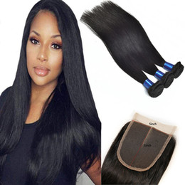 human hair 5x5 lace closure Australia - Peruvian Human Hair 3 Bundles With 5X5 Lace Closure 4 Pieces lot Virgin Hair Bundles With 5*5 Closure Middle Three Free Part