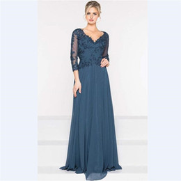 c0233ac7dad 2018 Elegant Purple Chiffon A Line Mother s Dresses Custom 3 4 Sleeves  Mother Of the Bride Dress V Neck Sequins Lace Prom Gowns