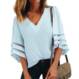 585da918c358e Blouses Women Half Sleeve Summer Fashion Women s Shirts Blouse Loose Large  Size Mesh Stitching Female Casual V-neck Tops