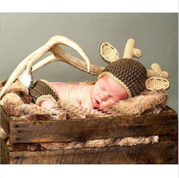 $enCountryForm.capitalKeyWord NZ - Newborn Photography Props Christmas Elk Costume Baby Photo Props Crochet Knit Deer Infant Beanie Hat+Pants Costume for Boy Girls