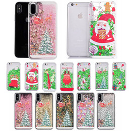 Wholesale iphone 5c liquid cases resale online - Christmas Tree Dynamic Liquid Quicksand Star Clear Hard Plastic Case For iPhone XS X S C Samsung S4 S5 S6 S7 Edge S8 Plus Note