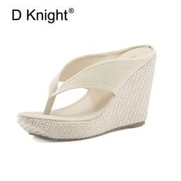 China Hot Sale Women Platform High Heels Wedge Slippers Big Size 33-43 Open Toe Flip Flops Ladies Casual Open Toe Summer Shoes Sandal cheap platform rubber flip flops suppliers