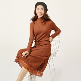 17bea60982 New Fashion Women Elegant Autumn Winter Turtleneck Long Sleeve Pleat Sweater  Dress Loose Knitted Slim Warm Dress