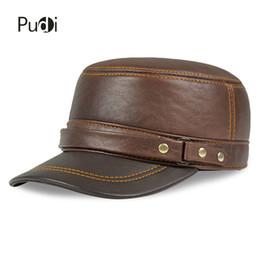 1f3adafb570317 HL179 Genuine Leather Rider Style Cowhide 2018 brand new Fashion Army Cap  Box Hat Cadet Visor mens baseball hats caps