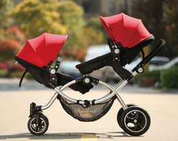 Fashion baby strollers online shopping - Four Wheels Shock Absorption Fashion High quality twins baby strollers baby twin carriage Four colors newborn can use suspension bb pram
