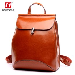 branded laptop bag women NZ - NEXTSTOP Genuine Cow Leather Backpack Female Women Brands Design Travel Back Pack Simple Fashion Laptop School bag N7704