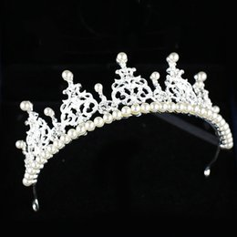 Evening Hair Combs Australia - Cheap Beautiful Elegant mitation Pearl Rhinestone inlay Crown Tiara Wedding Bride Hair Comb Crowns for Prom Party Evening