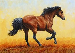 Oil Fire NZ - Artwork-running-horse-evening-fire-Unframed Modern Canvas Wall Art for Home and Office Decoration,Oil Painting ,Animal painatings ,frame.