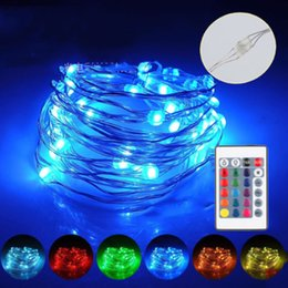 outdoor battery fairy lights Canada - 5m 10m LED RGB garland String Fairy Light Wedding Christmas holiday decoration lamp Festival outdoor lighting remote control