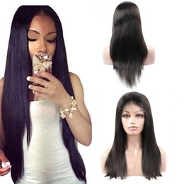 IndIan remy straIght full lace wIgs online shopping - 8A Brazilian Mink Straight full lace human hair wigs Peruvian Straight lace front wigs Non Remy Full Lace Wigs Bleached Knots