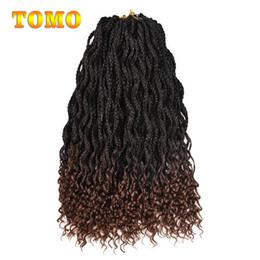 Discount crochet braids - TOMO Mix Brown Ombre Crochet Braids Wavy Roots Curly End Box Braids Heat Resistant Synthetic Fiber Braiding Hair Extensi