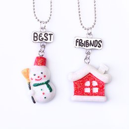 """Best Gift For Xmas Australia - 2PCS Pair """"Best Friends"""" Xmas Snowman & House Necklaces Kids Imitation Necklace For Children Jewelry Birthday Chirstmas Gifts"""