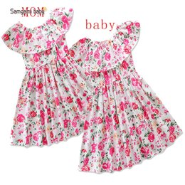 Children Clothes models online shopping - Samgami baby models Eur and the USA summer burst female mother dress ins children s clothing floral skirt parent child clothing