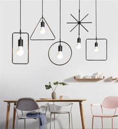 E27 Light Holder Australia - Modern LED Pendant Lamp Geometric Shape Iron E27 Lamp Holder 90-260V Coffee Shop Bar Foyer Dining Room Indoor Lighting