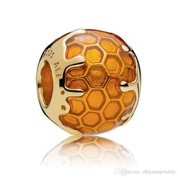China pandora shine ALE honeybee heart bee sunshine Sweet As Honey gold plated charm clip 925 sterling silver suppliers
