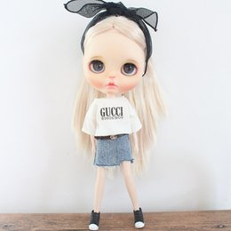 Discount denims shirts for girls - 1 PCS Casual Blyth Doll T-shirt Denim Skirt for Licca, Azone, OB24, Obitsu 24 Doll Clothes Outfits Accessories