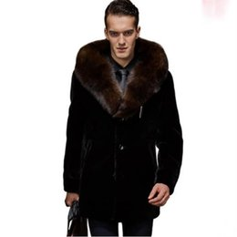 3eec9795f89 Clobee Men faux fur Coats 2017 men s oversized business jacket winter  outwear vintage single breasted thick fake fur coats M792