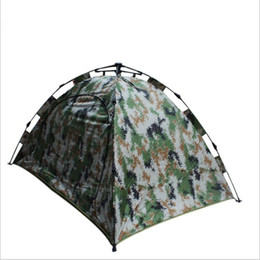 automatic fishing tent UK - 2017 Double Layer Camo Quick Automatic Opening Camping Tents Three-season Fiberglass One Bedroom 1-2 person Fishing Travel Tents