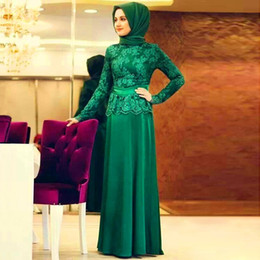 islamic evening dresses 14 NZ - Formal Lace Long Sleeve Muslim Evening Dress Hijab Turkish Maxi Abaya Dubai Islamic Kaftans Clothing To Prom Gowns Party Dresses