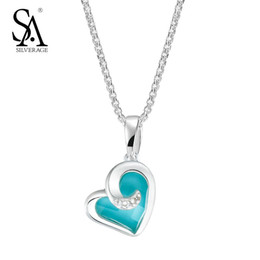 sa jewelry Canada - SA SILVERAGE Silver 925 Jewelry Blue Heart Necklaces Pendant for Women Fine Jewelry Romantic Testimony of Love Wedding Gift Y18102910