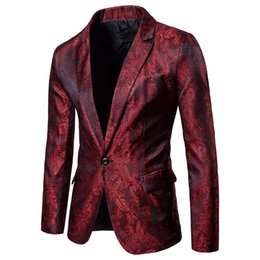 3ad8923983b51 Men Red Floral Wedding Dress Blazer Jacket Business Slim Fit One Button  Stage Jacket for Male Party DJ Stage Costume Blazers
