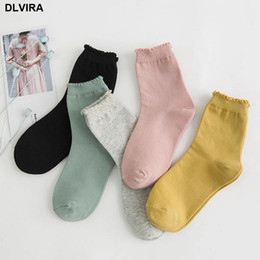 $enCountryForm.capitalKeyWord NZ - 2018 autumn and winter fashion new Candy-colored cotton lace loose mouth tube socks