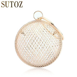 Pvc cages online shopping - Hollow Metal Ball Women Shoulder Bag Gold Cages Women Round Clutch bag Evening Ladies Luxury Wedding Party Bags Crossbody Purse D18110106