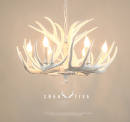 $enCountryForm.capitalKeyWord NZ - Girban Brand Candle Antler Chandelier Retro Resin Deer Horn Lamps White Home Decoration Ceiling Light Fixture E14