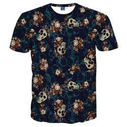 SkullS flowerS Sleeve man online shopping - Mr inc Skulls Fashion T Shirt Mens Tshirt Short Sleeve Shirt Funny Print Many Skull Flowers Asia M L XL XXL XL XL Lt6