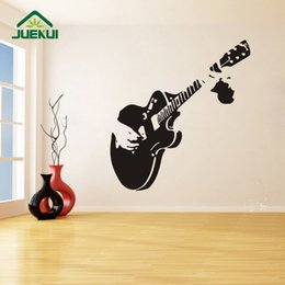Pattern Decor Australia - Guitar Pattern Vintage Style Wall Stickers Removable Design for Living Room Home Art Decor Vinyl Decals Bedroom K523