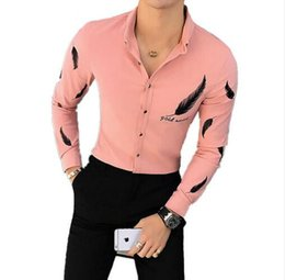mens clubbing clothes 2019 - 2017 Pink Shirts Mens Fitted White Shirts Black Camisa Social Chemise Blanche Slim Fit Mens Casual Clothing Feather Club